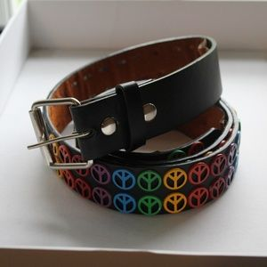 Super early 2000s rainbow peace belt pride